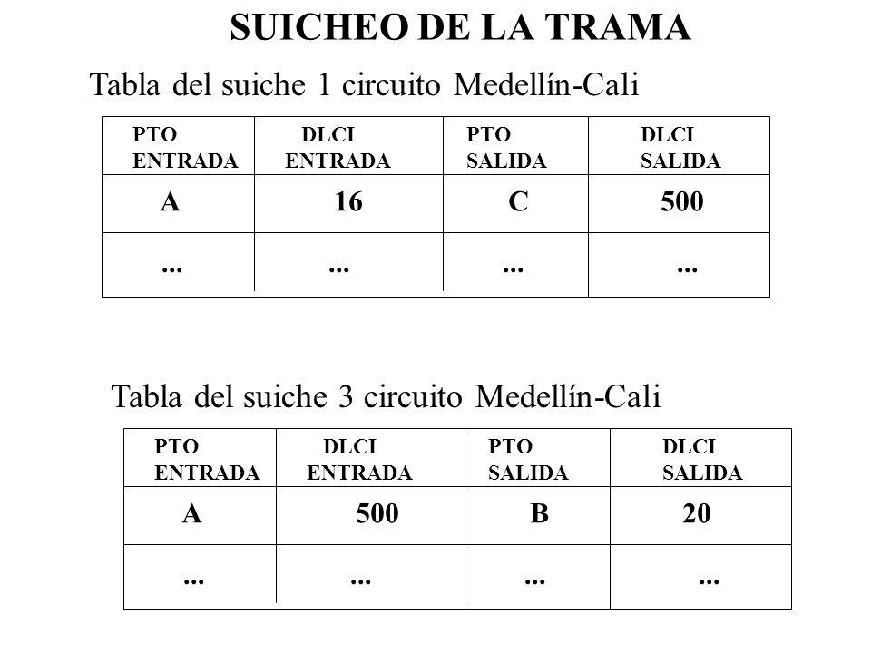 SUICHEO DE LA TRAMA PTO ENTRADA DLCI ENTRADA PTO SALIDA DLCI SALIDA A16C 500............