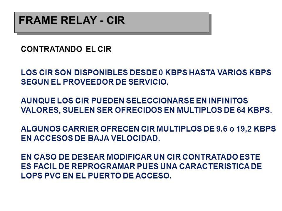 FRAME RELAY - CIR CONTRATANDO EL CIR LOS CIR SON DISPONIBLES DESDE 0 KBPS HASTA VARIOS KBPS SEGUN EL PROVEEDOR DE SERVICIO.
