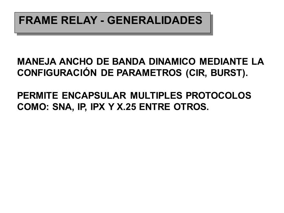 FRAME RELAY - GENERALIDADES MANEJA ANCHO DE BANDA DINAMICO MEDIANTE LA CONFIGURACIÓN DE PARAMETROS (CIR, BURST).