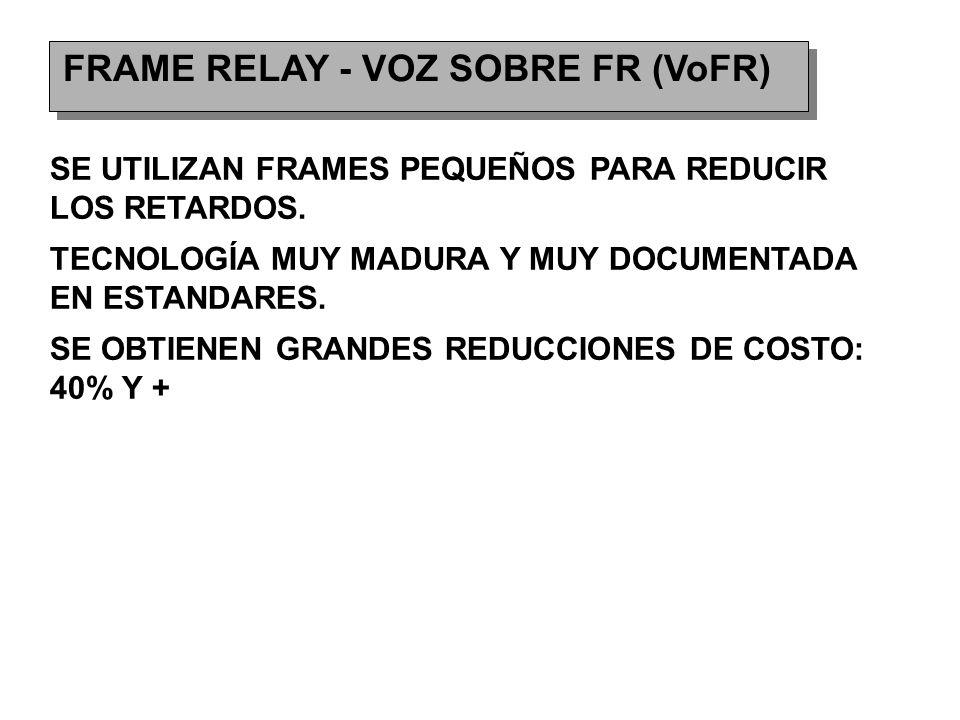 FRAME RELAY - VOZ SOBRE FR (VoFR) SE UTILIZAN FRAMES PEQUEÑOS PARA REDUCIR LOS RETARDOS.