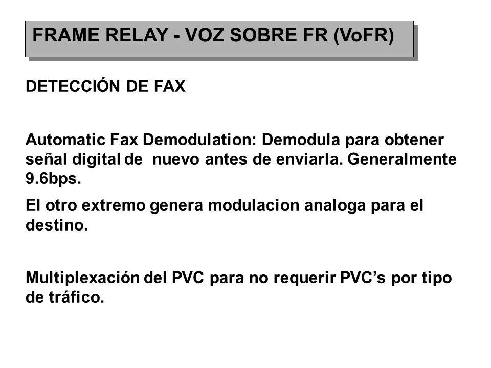 FRAME RELAY - VOZ SOBRE FR (VoFR) DETECCIÓN DE FAX Automatic Fax Demodulation: Demodula para obtener señal digital de nuevo antes de enviarla.