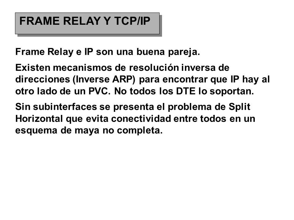 FRAME RELAY Y TCP/IP Frame Relay e IP son una buena pareja. Existen mecanismos de resolución inversa de direcciones (Inverse ARP) para encontrar que I