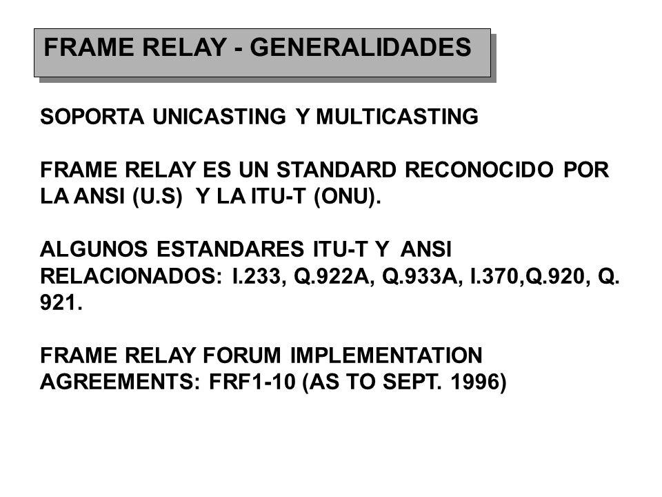 FRAME RELAY - GENERALIDADES SOPORTA UNICASTING Y MULTICASTING FRAME RELAY ES UN STANDARD RECONOCIDO POR LA ANSI (U.S) Y LA ITU-T (ONU).