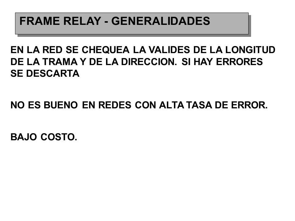 FRAME RELAY - GENERALIDADES EN LA RED SE CHEQUEA LA VALIDES DE LA LONGITUD DE LA TRAMA Y DE LA DIRECCION.