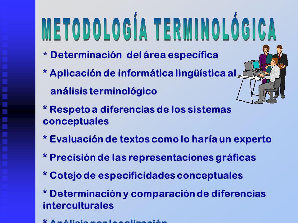 * Determinación del área específica * Aplicación de informática lingüística al análisis terminológico * Respeto a diferencias de los sistemas conceptu