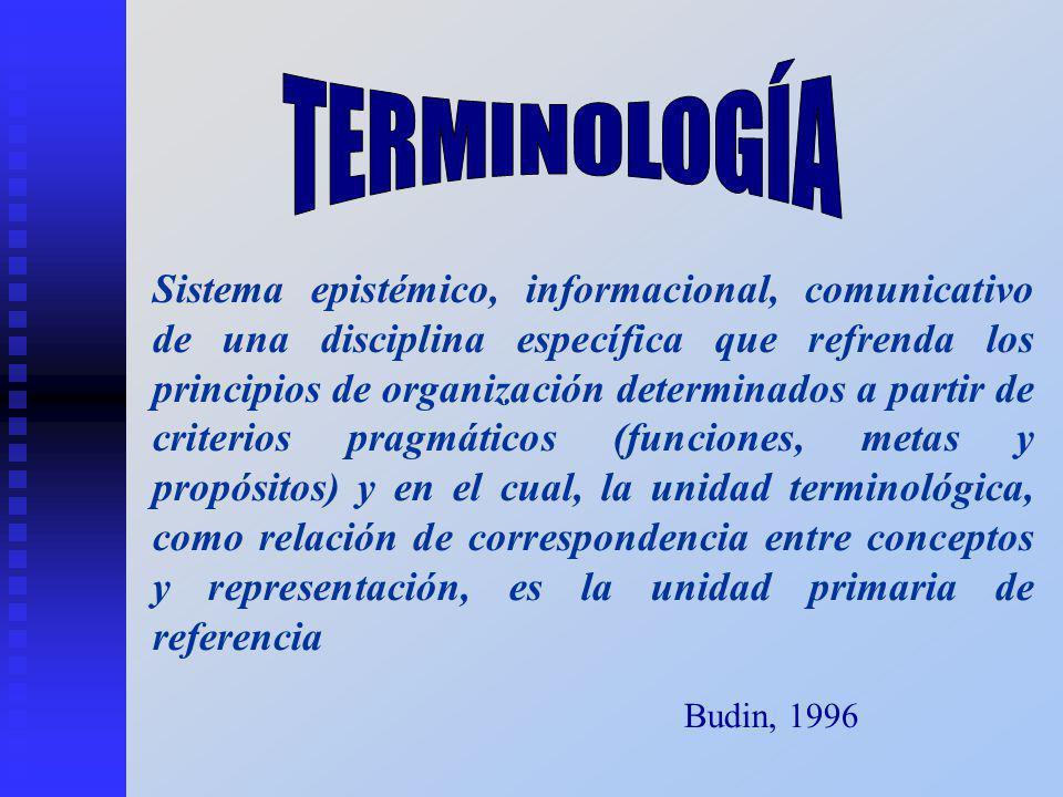 Sistema epistémico, informacional, comunicativo de una disciplina específica que refrenda los principios de organización determinados a partir de criterios pragmáticos (funciones, metas y propósitos) y en el cual, la unidad terminológica, como relación de correspondencia entre conceptos y representación, es la unidad primaria de referencia Budin, 1996