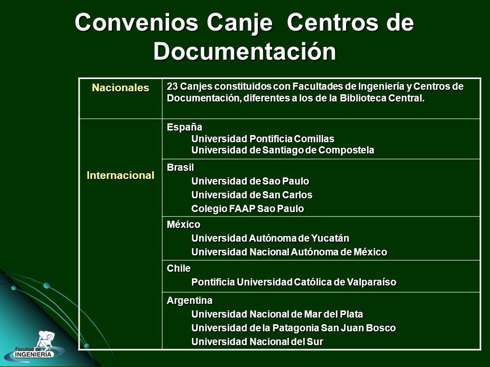 Convenios Canje Centros de Documentación Nacionales 23 Canjes constituidos con Facultades de Ingeniería y Centros de Documentación, diferentes a los de la Biblioteca Central.