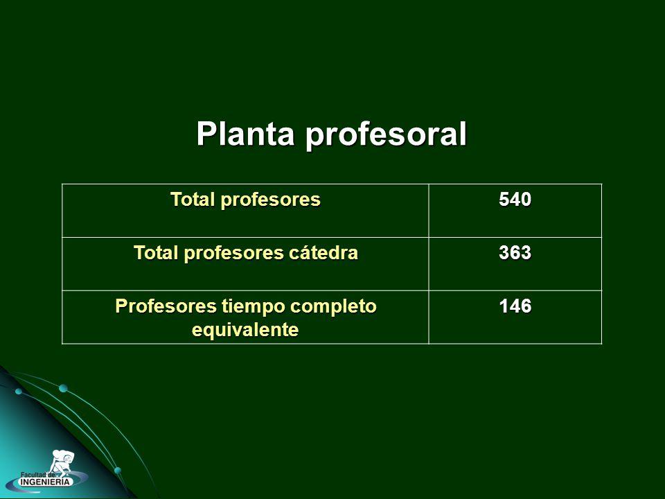 Total profesores 540 Total profesores cátedra 363 Profesores tiempo completo equivalente 146 Planta profesoral