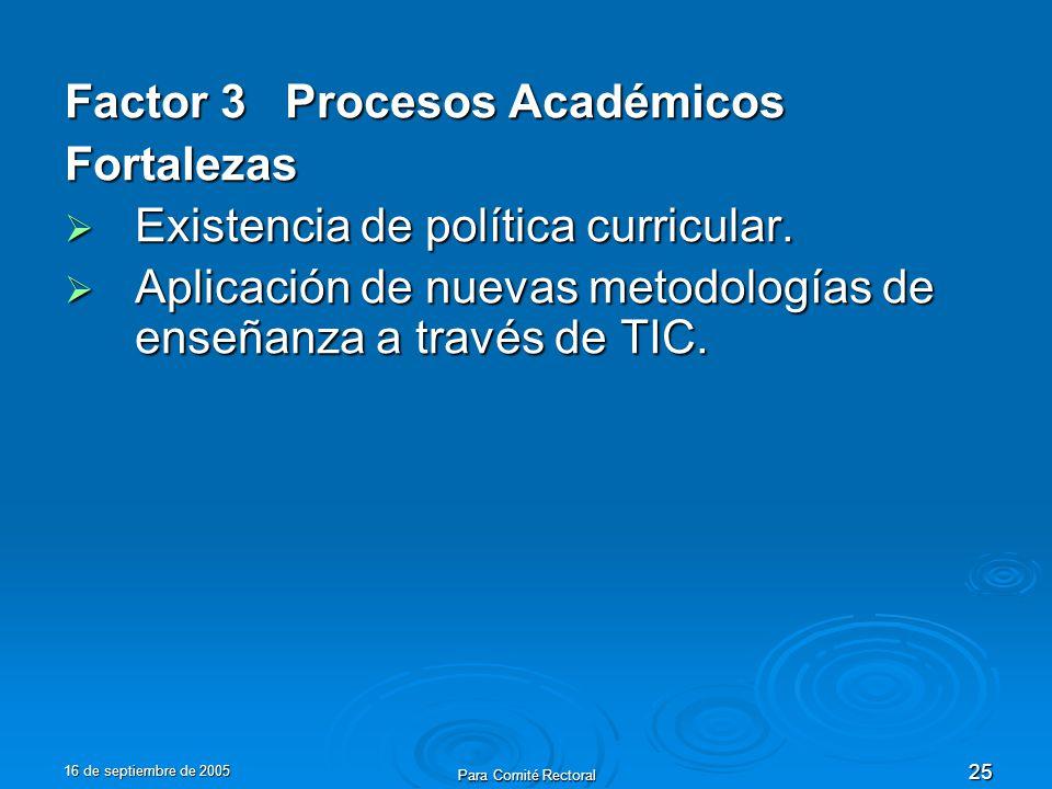 16 de septiembre de 2005 Para Comité Rectoral 25 Factor 3 Procesos Académicos Fortalezas Existencia de política curricular. Existencia de política cur