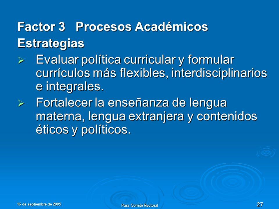 16 de septiembre de 2005 Para Comité Rectoral 27 Factor 3 Procesos Académicos Estrategias Evaluar política curricular y formular currículos más flexibles, interdisciplinarios e integrales.