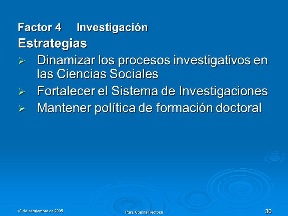 16 de septiembre de 2005 Para Comité Rectoral 30 Factor 4 Investigación Estrategias Dinamizar los procesos investigativos en las Ciencias Sociales Din