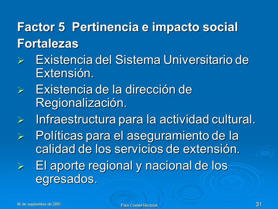 16 de septiembre de 2005 Para Comité Rectoral 31 Factor 5 Pertinencia e impacto social Fortalezas Existencia del Sistema Universitario de Extensión.