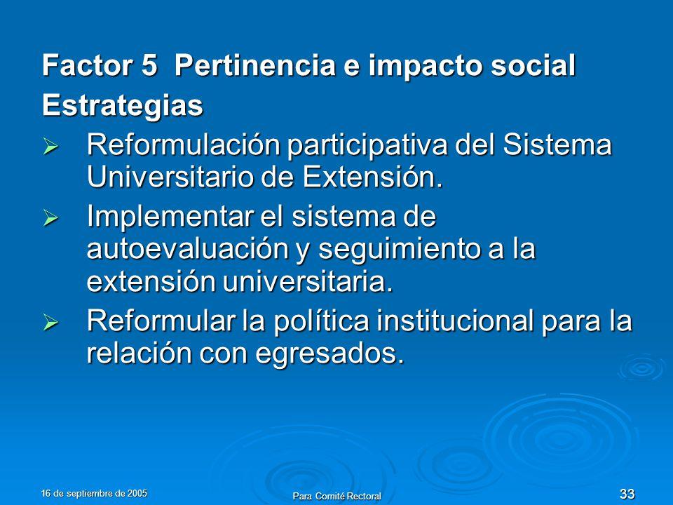 16 de septiembre de 2005 Para Comité Rectoral 33 Factor 5 Pertinencia e impacto social Estrategias Reformulación participativa del Sistema Universitario de Extensión.