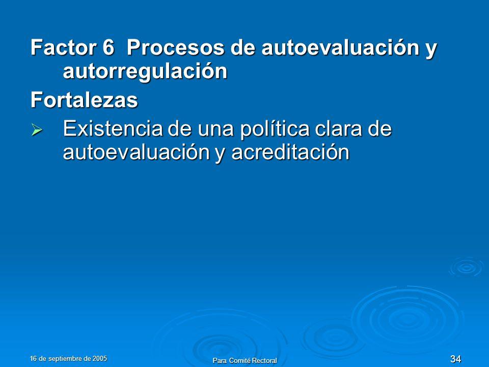 16 de septiembre de 2005 Para Comité Rectoral 34 Factor 6 Procesos de autoevaluación y autorregulación Fortalezas Existencia de una política clara de autoevaluación y acreditación Existencia de una política clara de autoevaluación y acreditación