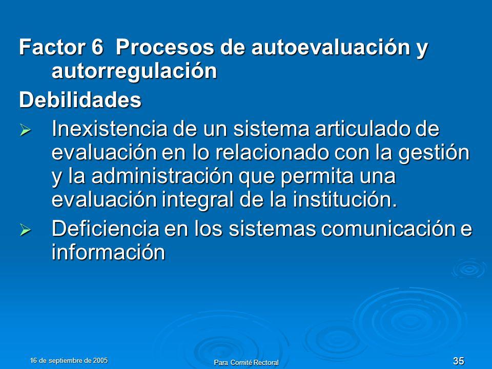 16 de septiembre de 2005 Para Comité Rectoral 35 Factor 6 Procesos de autoevaluación y autorregulación Debilidades Inexistencia de un sistema articulado de evaluación en lo relacionado con la gestión y la administración que permita una evaluación integral de la institución.