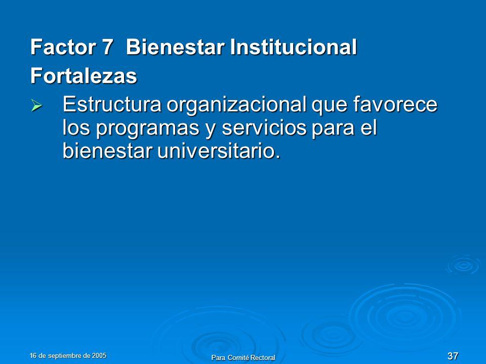 16 de septiembre de 2005 Para Comité Rectoral 37 Factor 7 Bienestar Institucional Fortalezas Estructura organizacional que favorece los programas y se