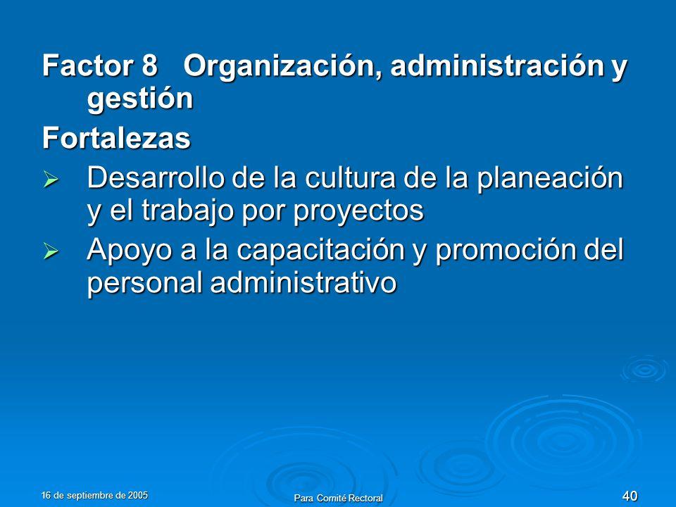 16 de septiembre de 2005 Para Comité Rectoral 40 Factor 8 Organización, administración y gestión Fortalezas Desarrollo de la cultura de la planeación y el trabajo por proyectos Desarrollo de la cultura de la planeación y el trabajo por proyectos Apoyo a la capacitación y promoción del personal administrativo Apoyo a la capacitación y promoción del personal administrativo