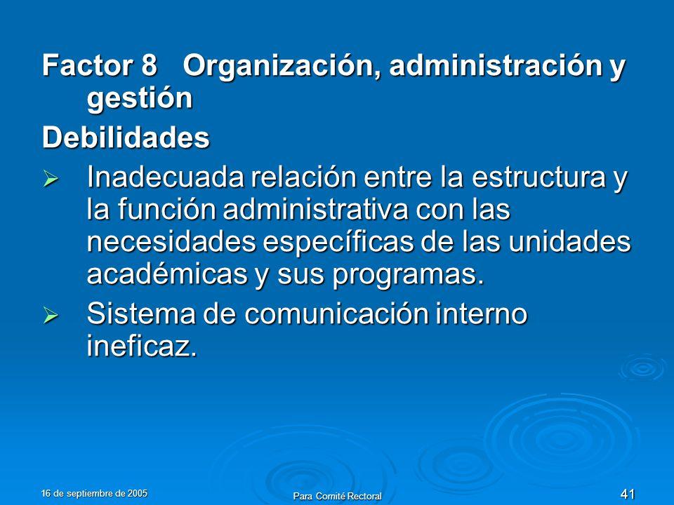 16 de septiembre de 2005 Para Comité Rectoral 41 Factor 8 Organización, administración y gestión Debilidades Inadecuada relación entre la estructura y la función administrativa con las necesidades específicas de las unidades académicas y sus programas.