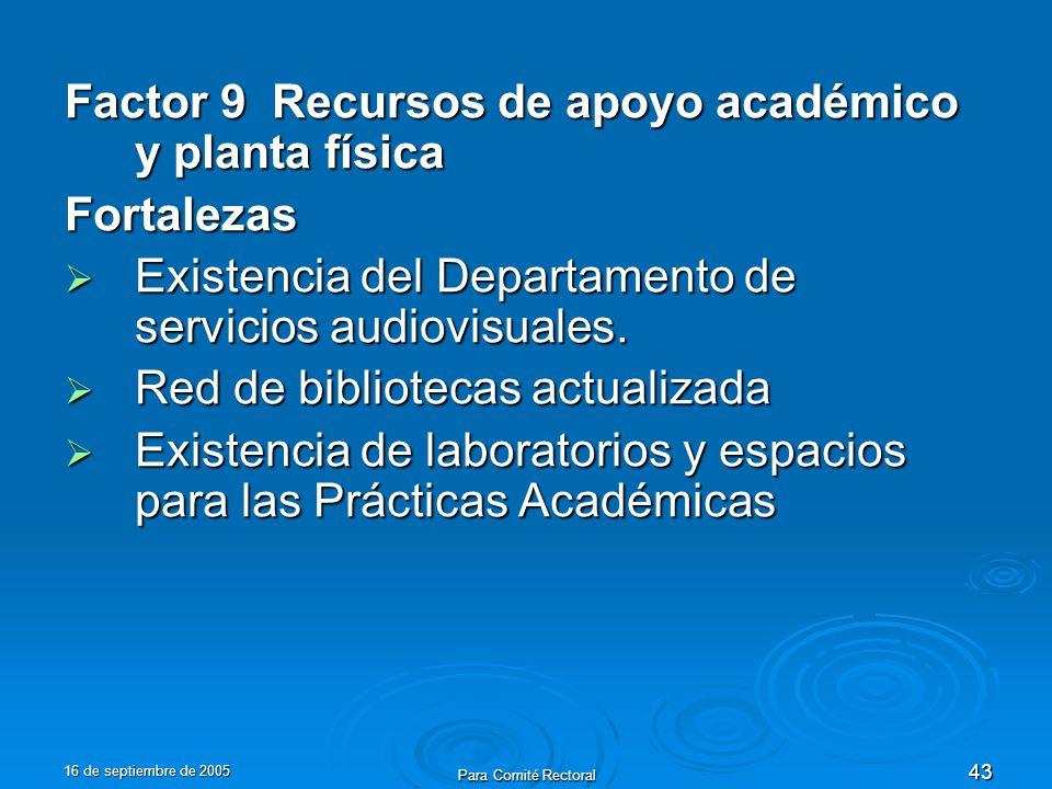 16 de septiembre de 2005 Para Comité Rectoral 43 Factor 9 Recursos de apoyo académico y planta física Fortalezas Existencia del Departamento de servicios audiovisuales.