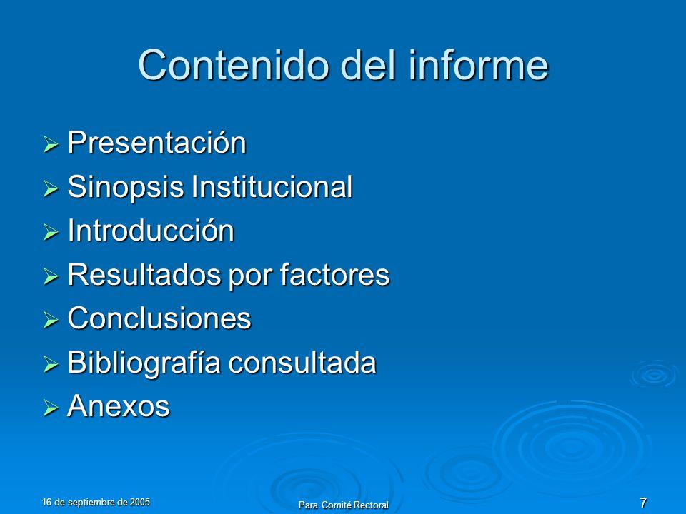 16 de septiembre de 2005 Para Comité Rectoral 7 Contenido del informe Presentación Presentación Sinopsis Institucional Sinopsis Institucional Introduc
