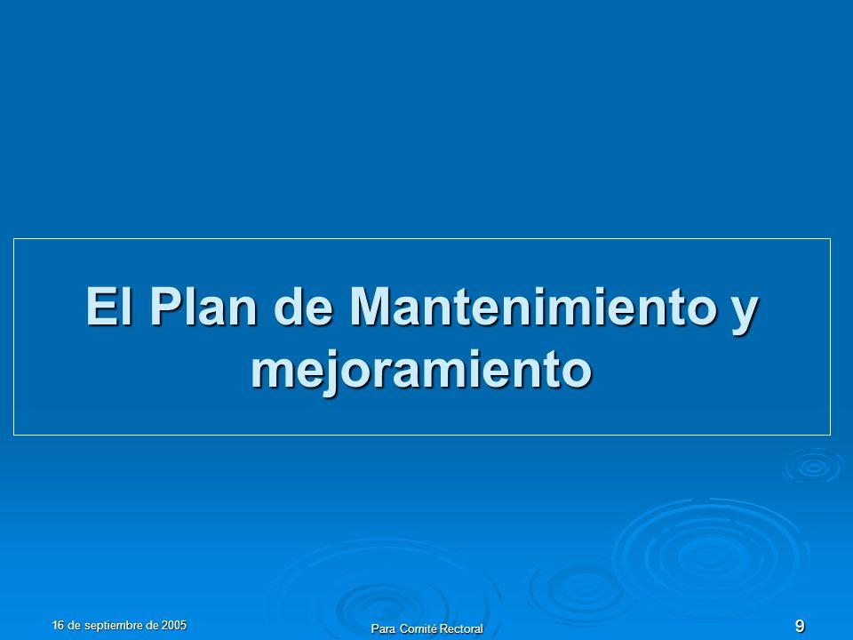 16 de septiembre de 2005 Para Comité Rectoral 9 El Plan de Mantenimiento y mejoramiento