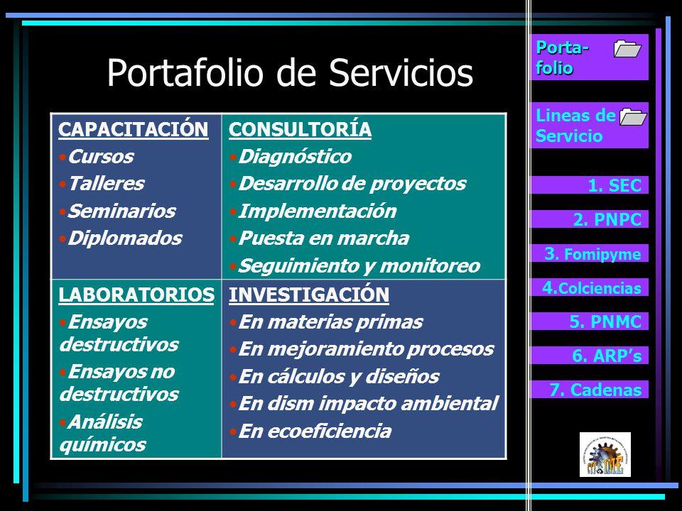 Lineas de Servicio 1.SEC 2. PNPC 3. Fomipyme 4.