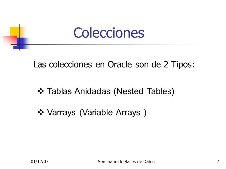01/12/07Seminario de Bases de Datos2 Colecciones Las colecciones en Oracle son de 2 Tipos: Tablas Anidadas (Nested Tables) Varrays (Variable Arrays )