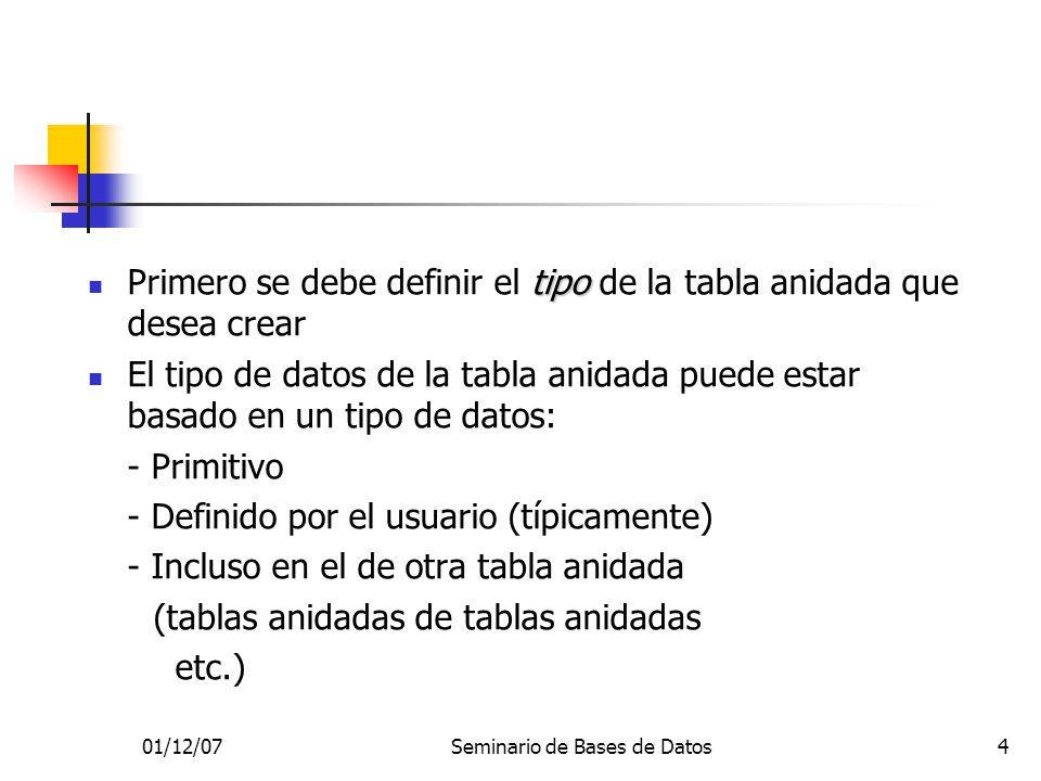 01/12/07Seminario de Bases de Datos4 tipo Primero se debe definir el tipo de la tabla anidada que desea crear El tipo de datos de la tabla anidada puede estar basado en un tipo de datos: - Primitivo - Definido por el usuario (típicamente) - Incluso en el de otra tabla anidada (tablas anidadas de tablas anidadas etc.)
