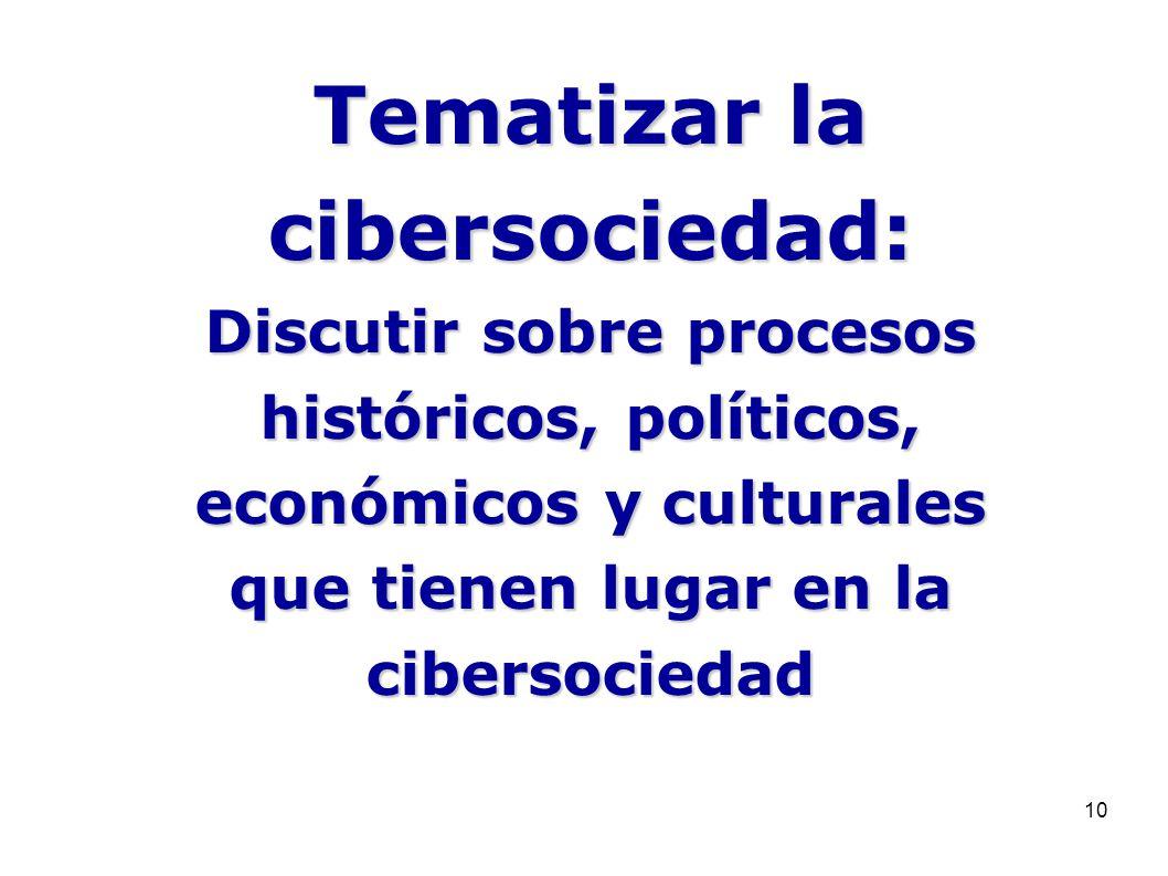 10 Tematizar la cibersociedad: Discutir sobre procesos históricos, políticos, económicos y culturales que tienen lugar en la cibersociedad
