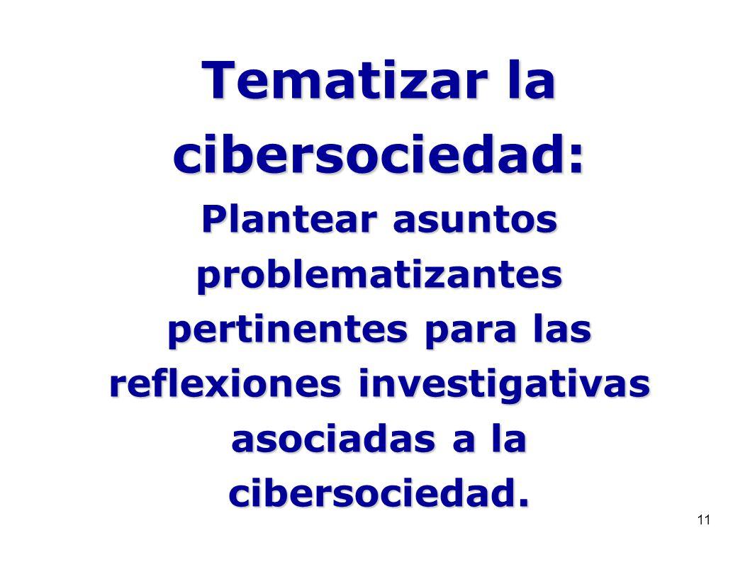 11 Tematizar la cibersociedad: Plantear asuntos problematizantes pertinentes para las reflexiones investigativas asociadas a la cibersociedad.