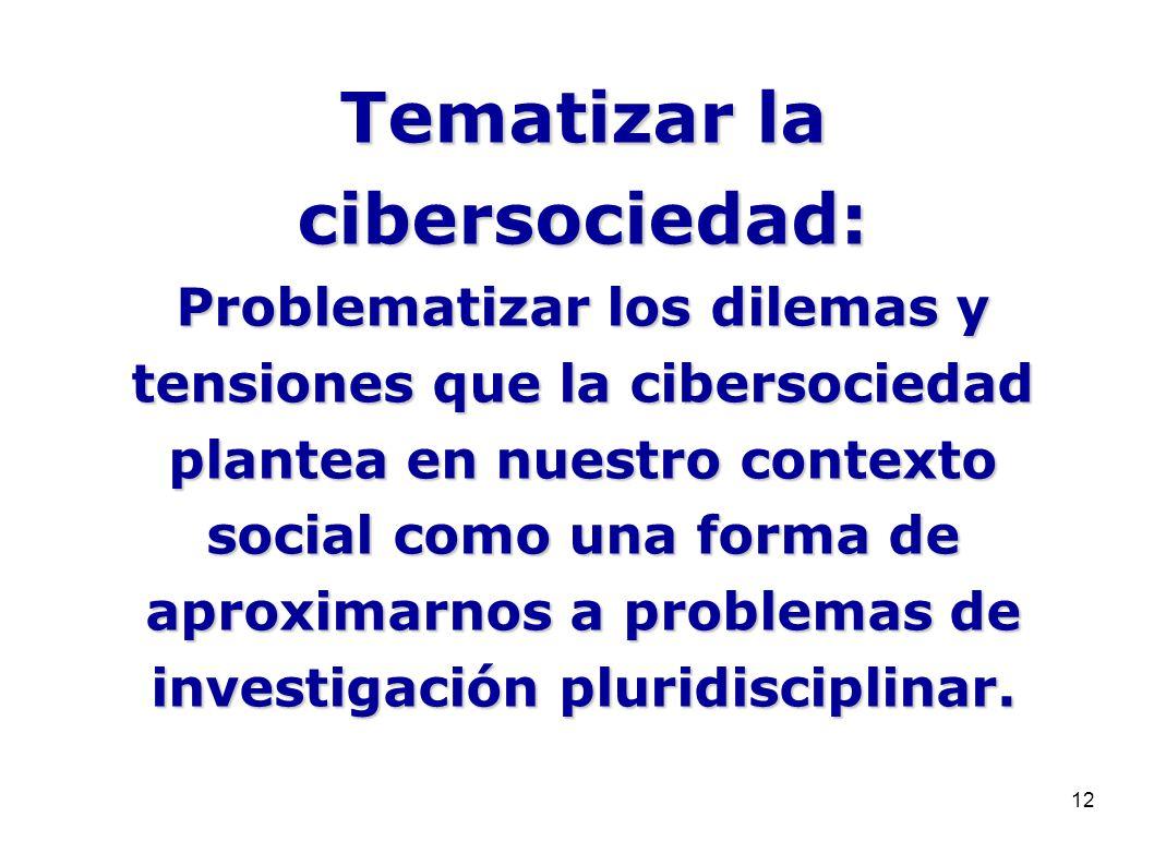 12 Tematizar la cibersociedad: Problematizar los dilemas y tensiones que la cibersociedad plantea en nuestro contexto social como una forma de aproxim