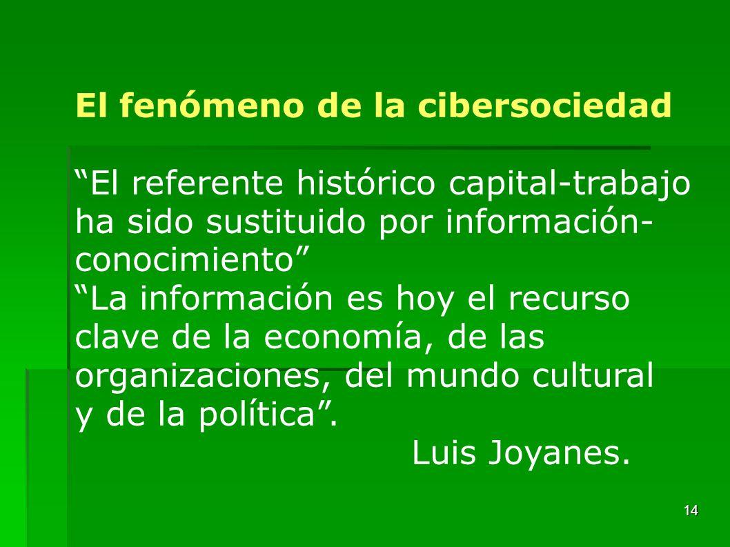 14 El fenómeno de la cibersociedad El referente histórico capital-trabajo ha sido sustituido por información- conocimiento La información es hoy el re