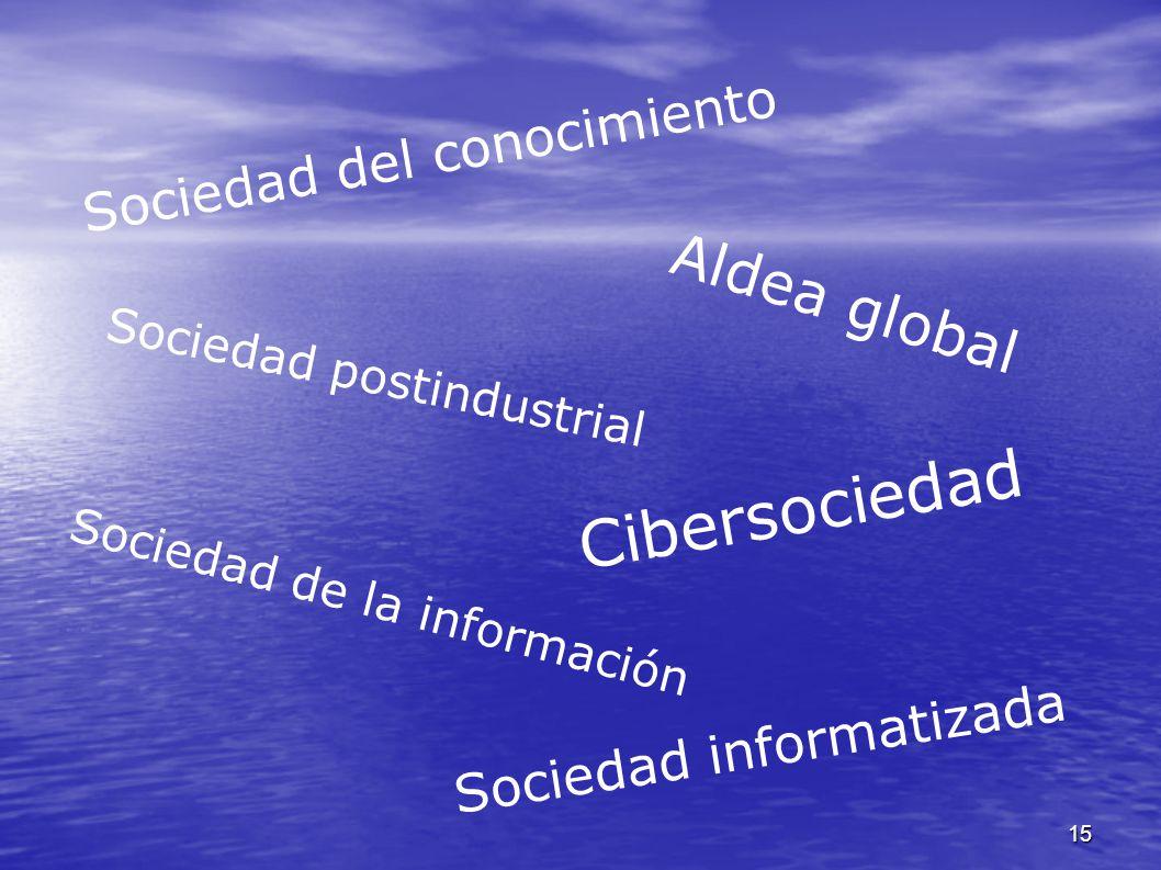15 Cibersociedad Sociedad postindustrial Sociedad de la información Sociedad del conocimiento Sociedad informatizada Aldea global