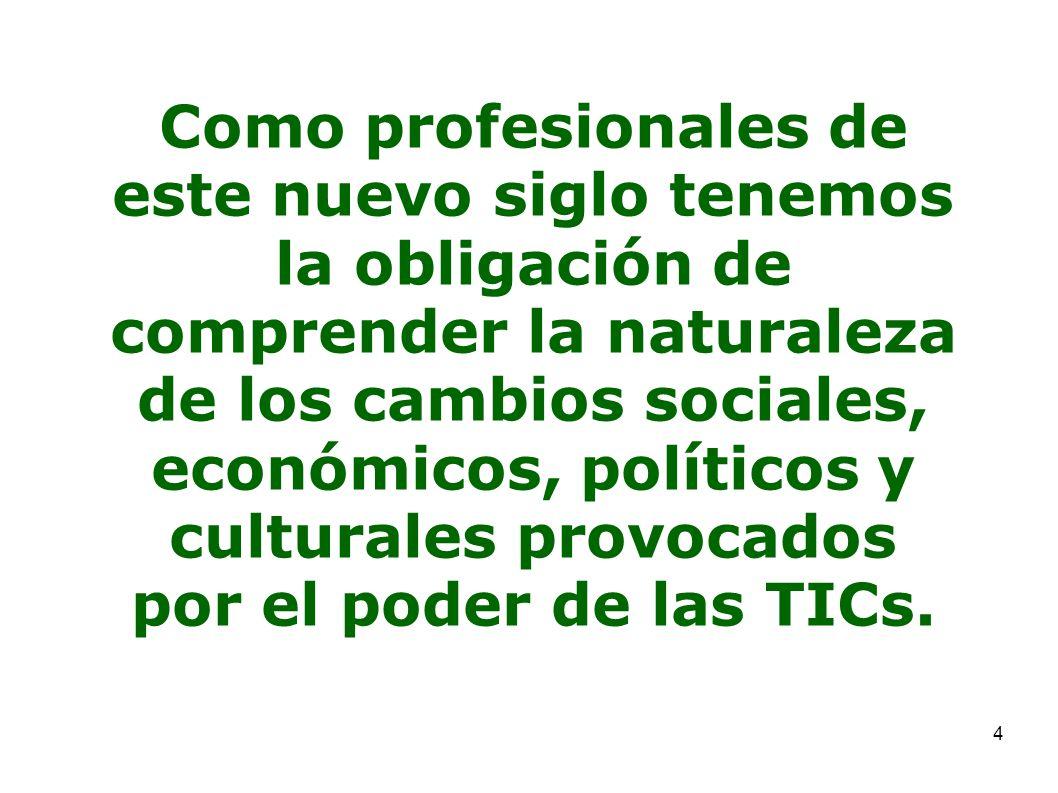 4 Como profesionales de este nuevo siglo tenemos la obligación de comprender la naturaleza de los cambios sociales, económicos, políticos y culturales