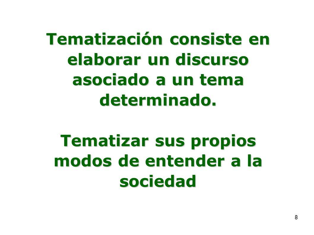 8 Tematización consiste en elaborar un discurso asociado a un tema determinado. Tematizar sus propios modos de entender a la sociedad