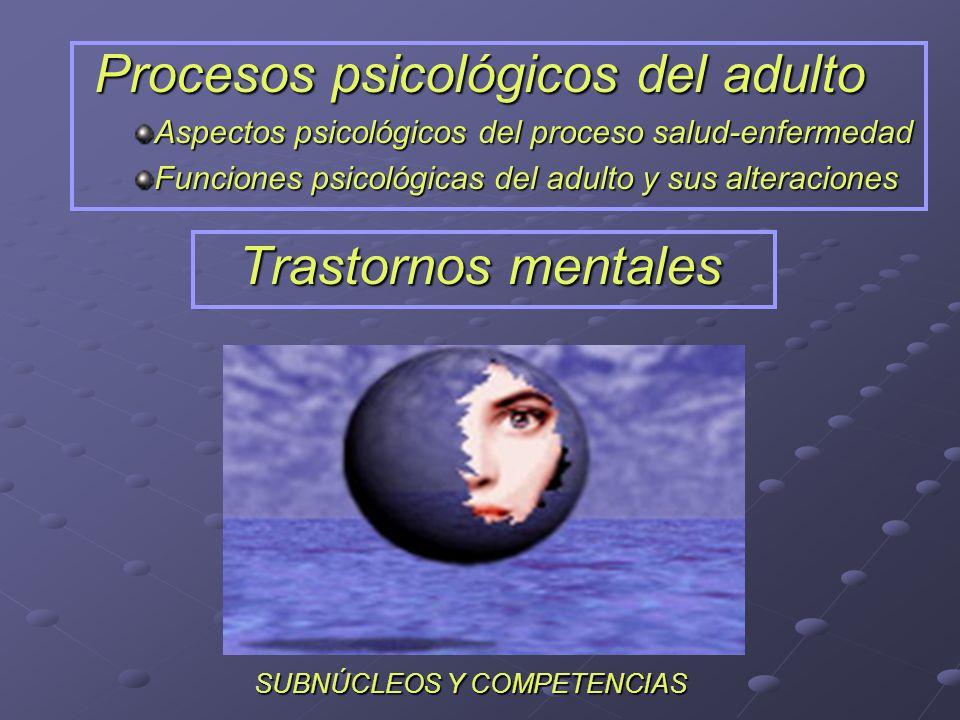 Procesos psicológicos del adulto Aspectos psicológicos del proceso salud-enfermedad Funciones psicológicas del adulto y sus alteraciones Trastornos me