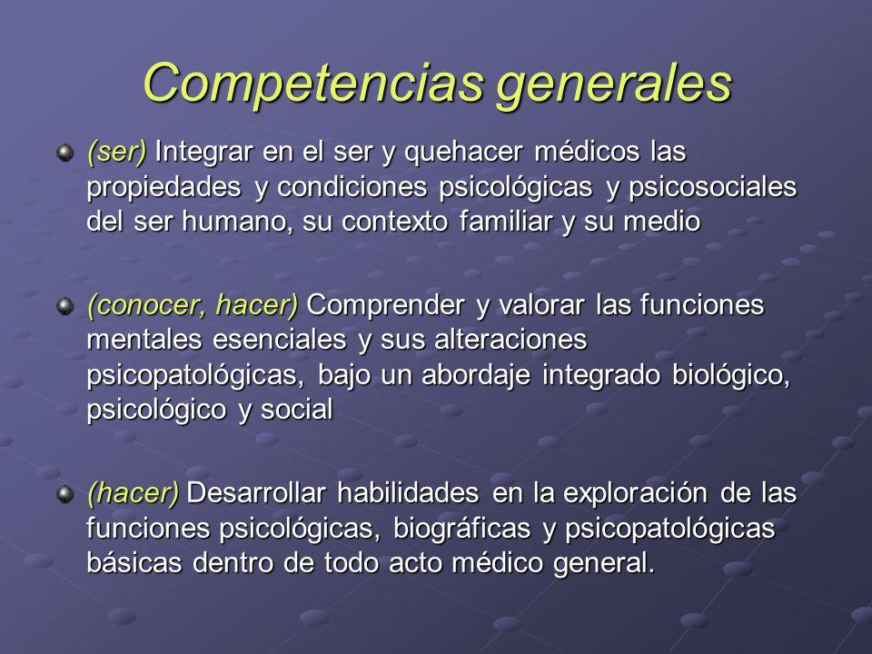 Competencias generales (ser) Integrar en el ser y quehacer médicos las propiedades y condiciones psicológicas y psicosociales del ser humano, su conte