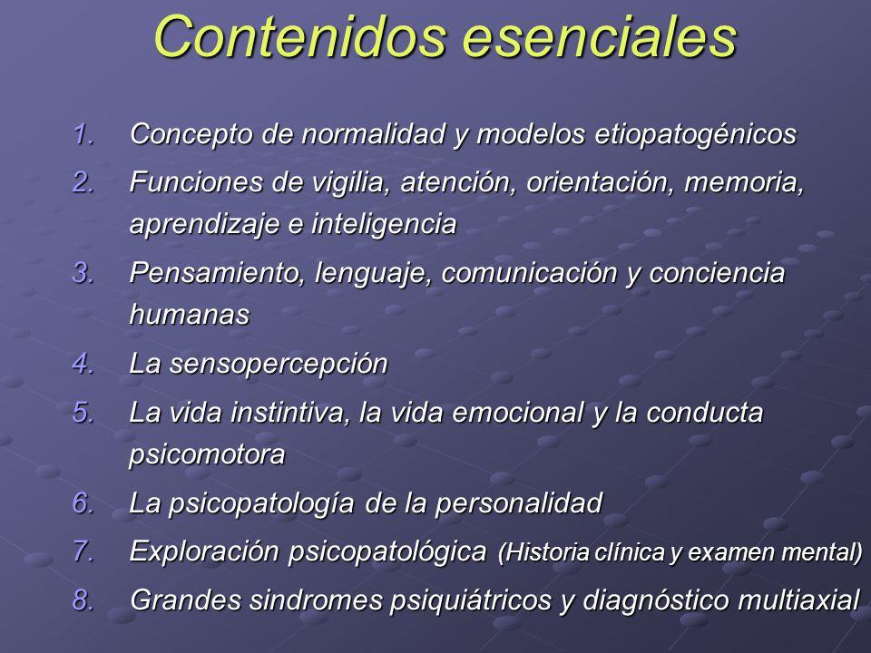 Contenidos esenciales 1.Concepto de normalidad y modelos etiopatogénicos 2.Funciones de vigilia, atención, orientación, memoria, aprendizaje e intelig