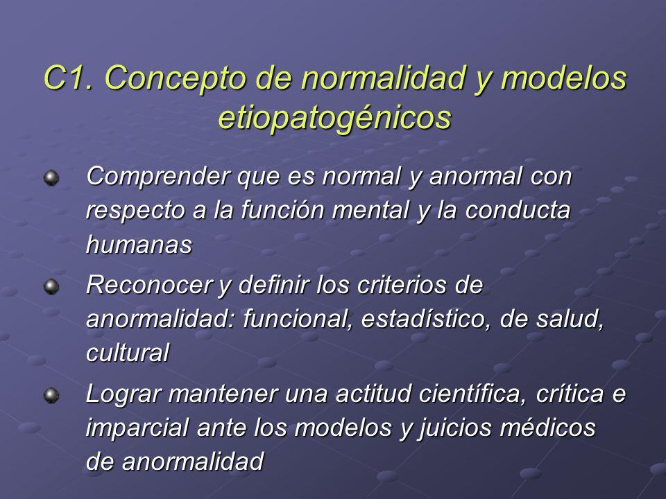 C1. Concepto de normalidad y modelos etiopatogénicos Comprender que es normal y anormal con respecto a la función mental y la conducta humanas Reconoc