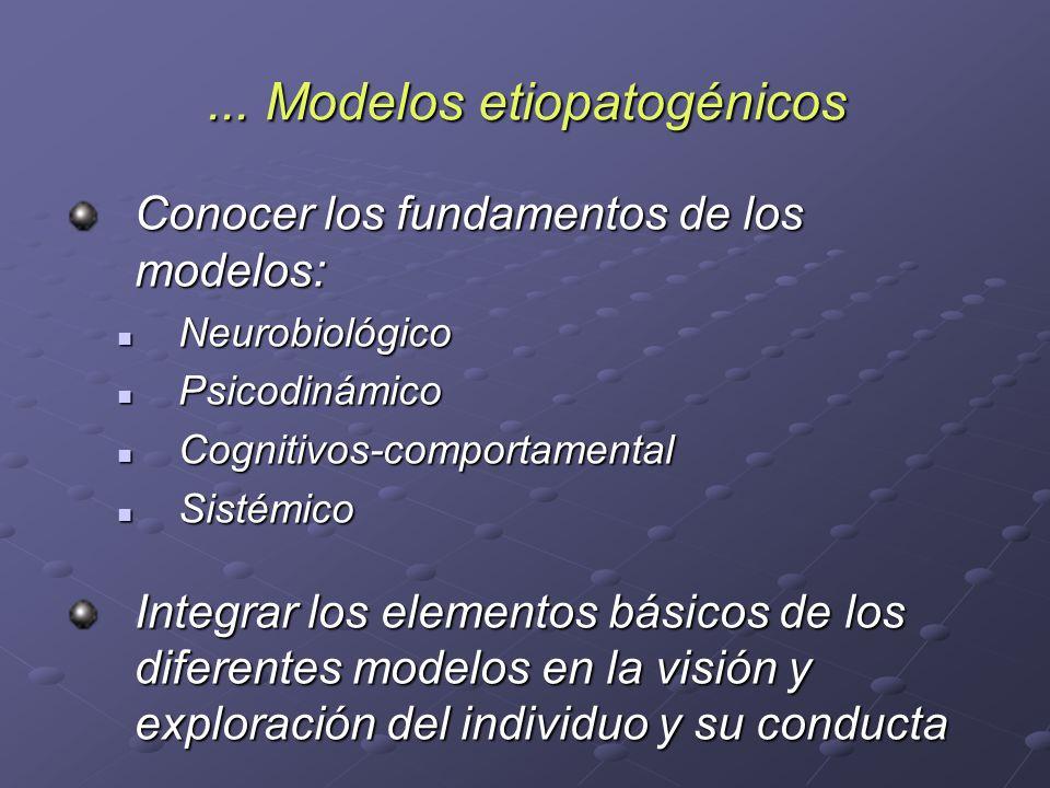 ... Modelos etiopatogénicos Conocer los fundamentos de los modelos: Neurobiológico Neurobiológico Psicodinámico Psicodinámico Cognitivos-comportamenta