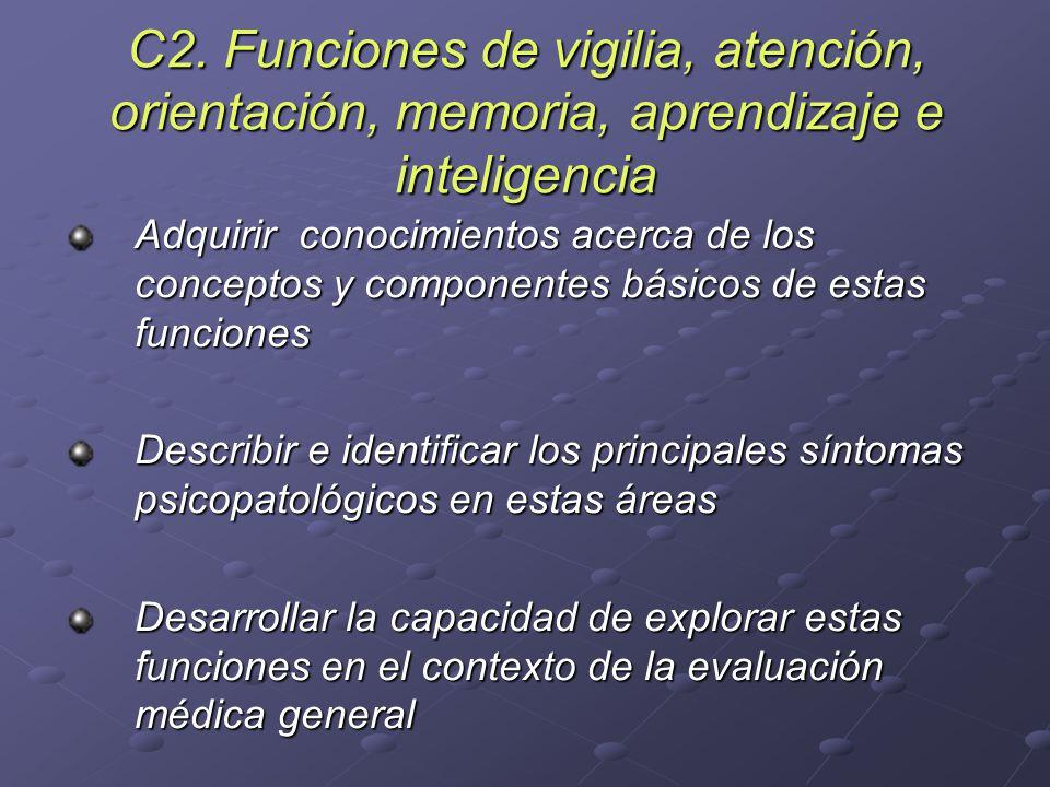 C2. Funciones de vigilia, atención, orientación, memoria, aprendizaje e inteligencia Adquirir conocimientos acerca de los conceptos y componentes bási