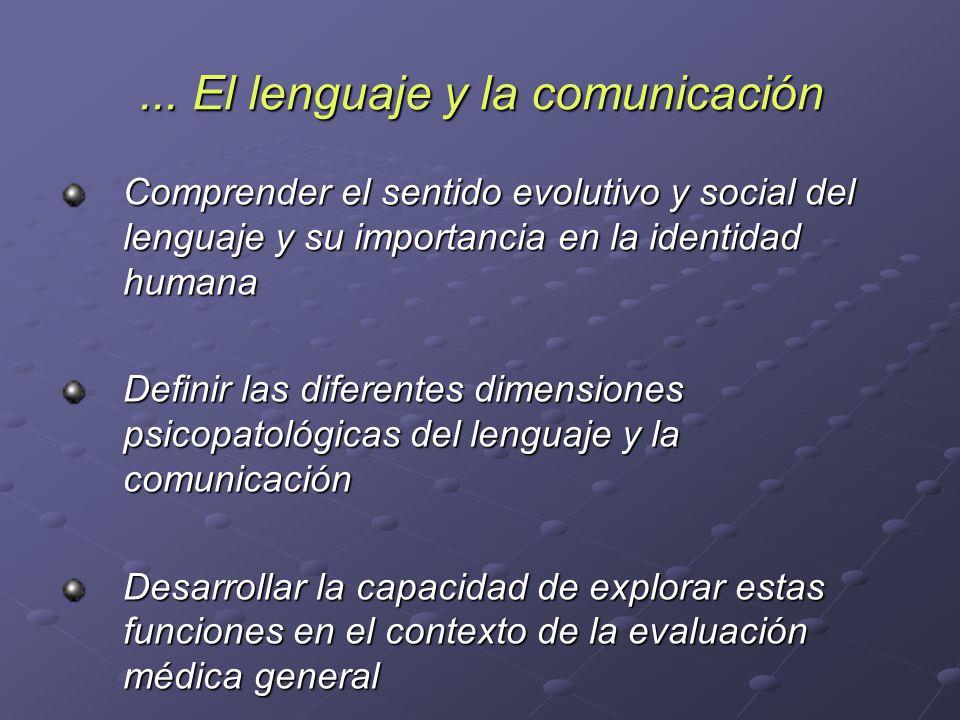 ... El lenguaje y la comunicación Comprender el sentido evolutivo y social del lenguaje y su importancia en la identidad humana Definir las diferentes