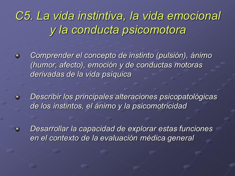 C5. La vida instintiva, la vida emocional y la conducta psicomotora Comprender el concepto de instinto (pulsión), ánimo (humor, afecto), emoción y de