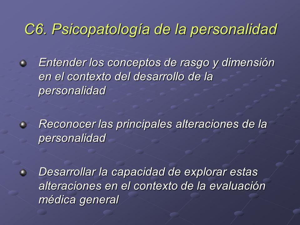 C6. Psicopatología de la personalidad Entender los conceptos de rasgo y dimensión en el contexto del desarrollo de la personalidad Reconocer las princ