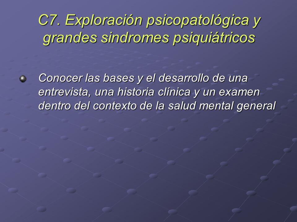 C7. Exploración psicopatológica y grandes sindromes psiquiátricos Conocer las bases y el desarrollo de una entrevista, una historia clínica y un exame