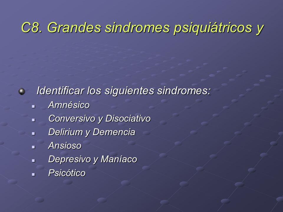 C8. Grandes sindromes psiquiátricos y Identificar los siguientes sindromes: Amnésico Amnésico Conversivo y Disociativo Conversivo y Disociativo Deliri