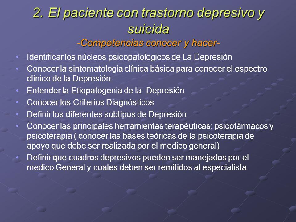 2. El paciente con trastorno depresivo y suicida -Competencias conocer y hacer- Identificar los núcleos psicopatologicos de La Depresión Conocer la si