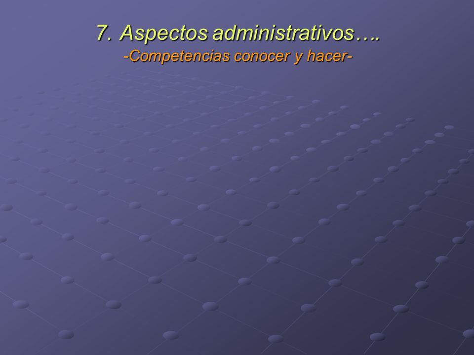 7. Aspectos administrativos…. -Competencias conocer y hacer-