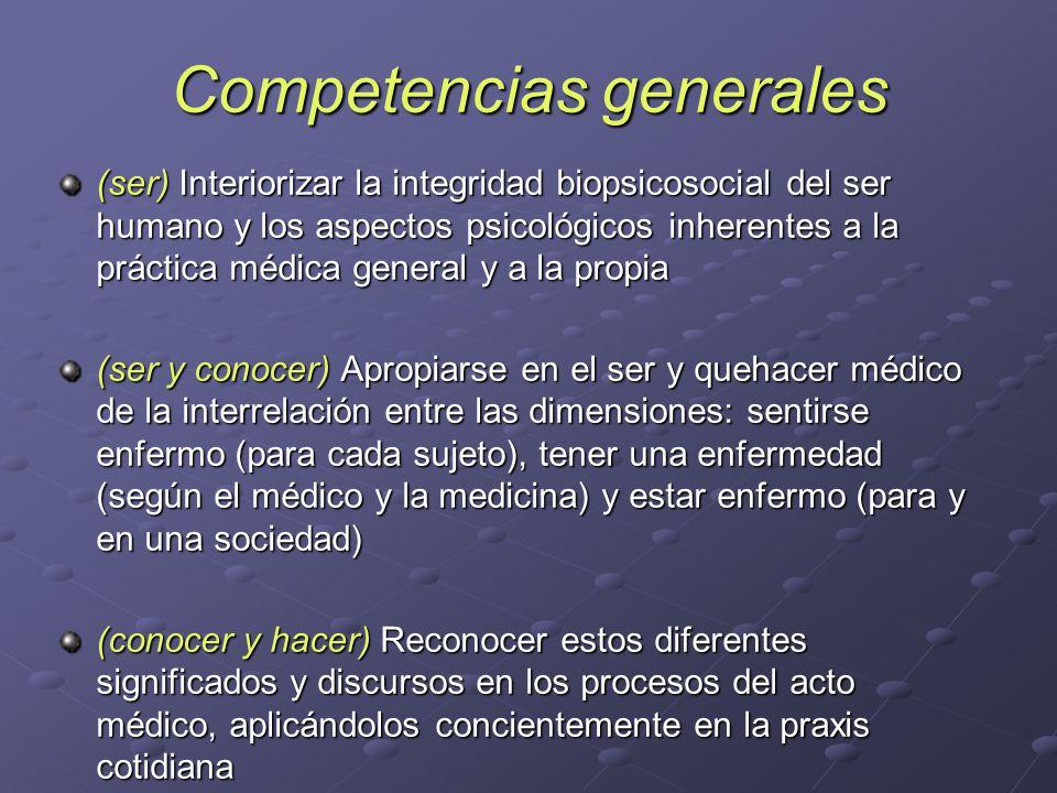 Competencias generales (ser) Interiorizar la integridad biopsicosocial del ser humano y los aspectos psicológicos inherentes a la práctica médica gene