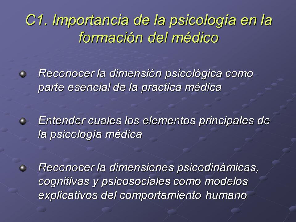 C1. Importancia de la psicología en la formación del médico Reconocer la dimensión psicológica como parte esencial de la practica médica Entender cual